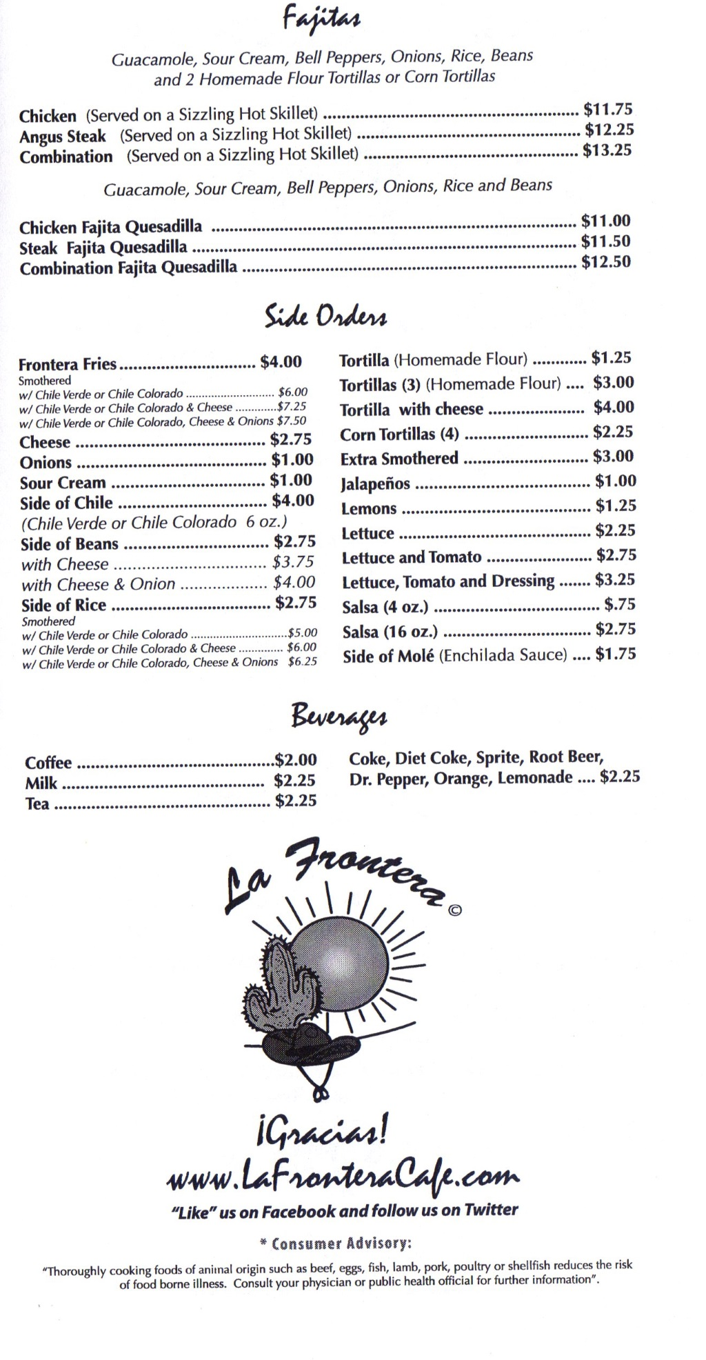 la frontera menu three