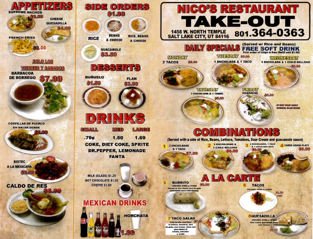 nicos restaurant menu page one