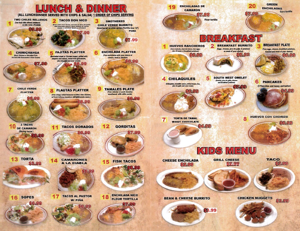 nicos restaurant menu page two