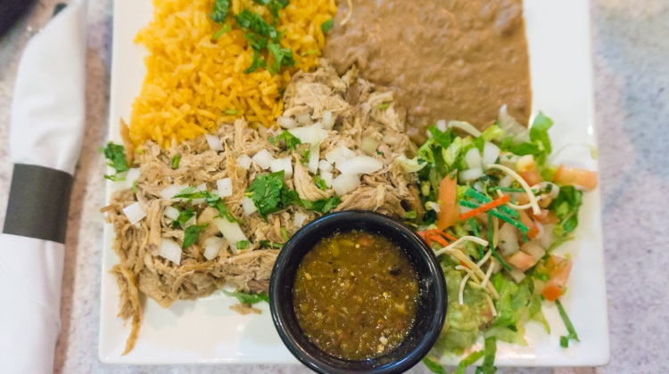 Chile-Tepin: Carnitas with rice, beans and salad