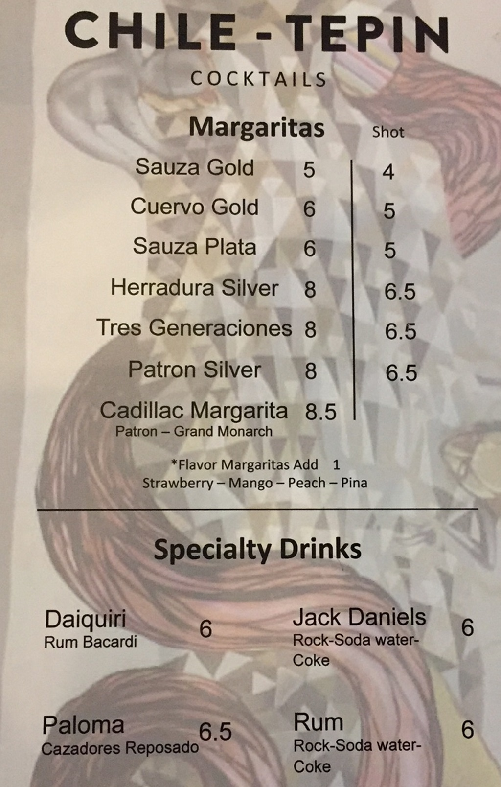 Chile Tepin menu - cocktails and tequila