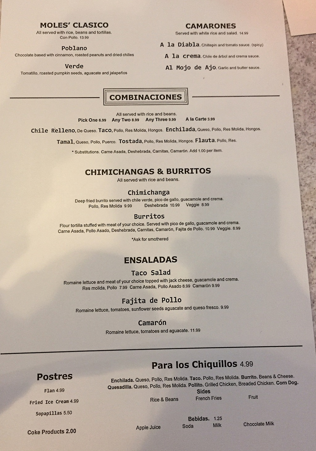Chile Tepin menu - mole, shrimp, salads, combinations and more