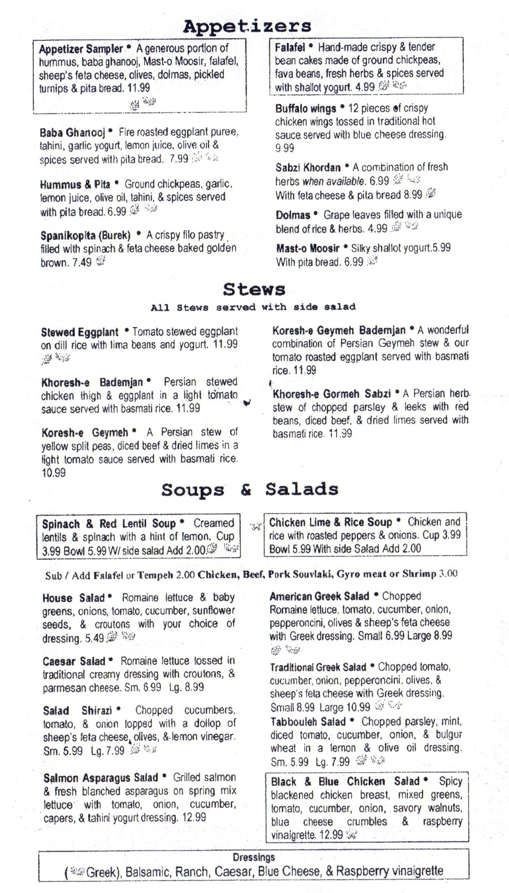 The Med menu - appetizers, stews, soups and salads