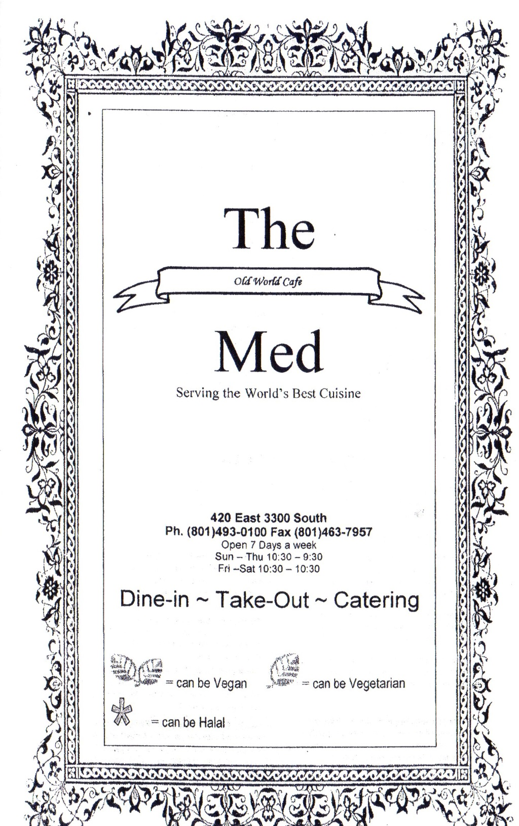 The med menu  - front page