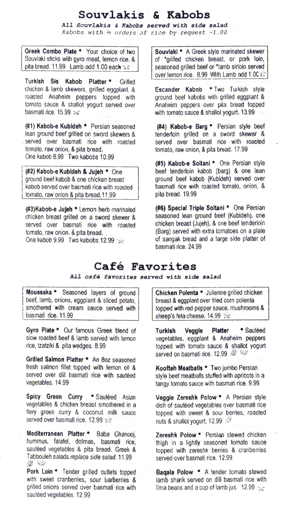 The Med menu - souvlaki, kabobs and favorites
